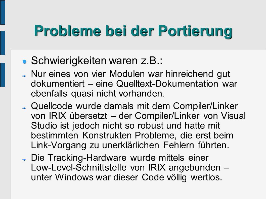 Komponenten der Software IMGR ( I nterface for M otion-based G esture R ecognition) – C++ Bibliothek für Gestenerkennung (von O.Bimber) GTL ( G raphics T emplate L ibrary) – C++ Bibliothek für 3D-Mathematik (von O.Bimber) QTCS ( Q t T racker C lient S erver) – zur Ansteuerung der Tracking Hardware QtGL ( Qt G raphics L ibrary) – zur graphischen Ausgabe (Mono oder Stereo) Hauptprogramm – abhängig von der jeweiligen Anwendung – verbindet die oberen 4 Module auf sinnvolle Art