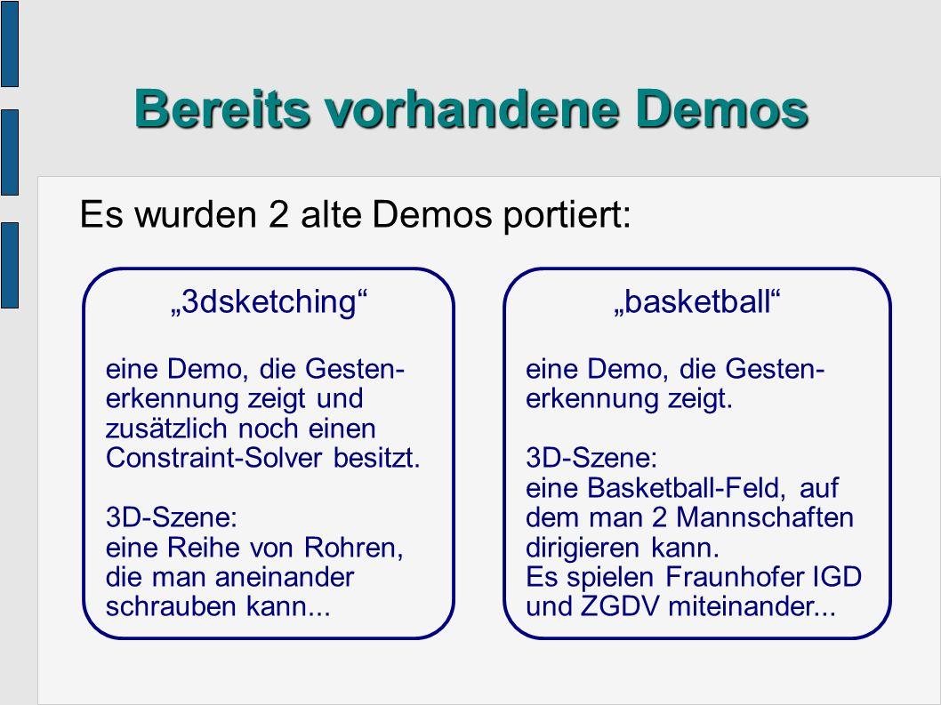 Einschätzung des Systems Es ist mit dem VR-Framework möglich, simple und komplexe Demos für den Virtual Table zu programmieren.