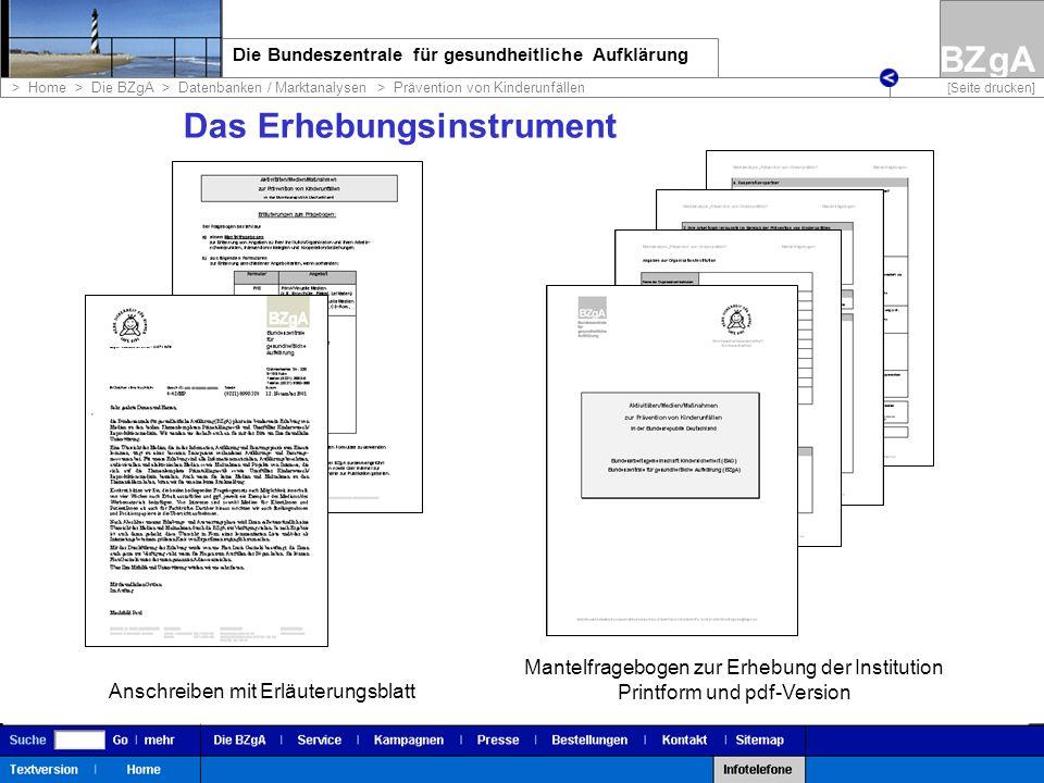 BZgA Die Bundeszentrale für gesundheitliche Aufklärung > Home > Die BZgA > Datenbanken / Marktanalysen > Prävention von Kinderunfällen [Seite drucken] Die Datenbank www.bzga.de www.kindersicherheit.de