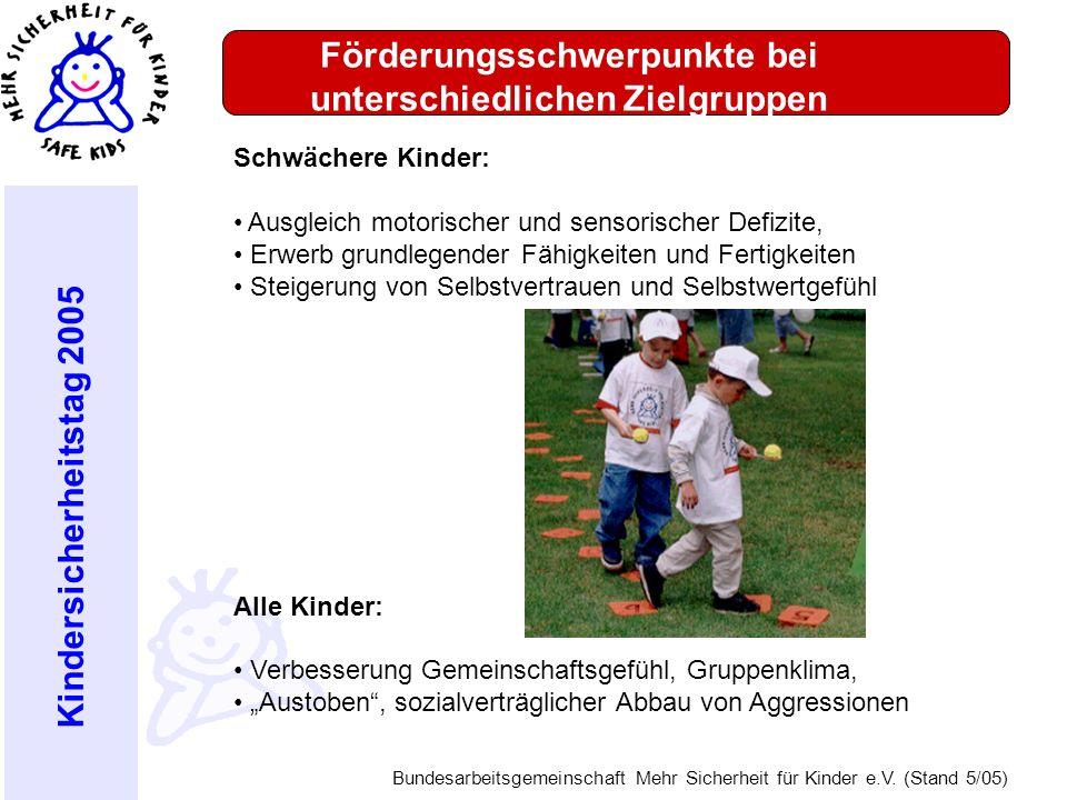 Kindersicherheitstag 2005 Bundesarbeitsgemeinschaft Mehr Sicherheit für Kinder e.V. (Stand 5/05) Förderungsschwerpunkte bei unterschiedlichen Zielgrup