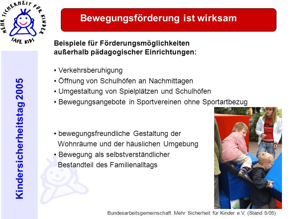 Kindersicherheitstag 2005 Bundesarbeitsgemeinschaft Mehr Sicherheit für Kinder e.V. (Stand 5/05) Bewegungsförderung ist wirksam Beispiele für Förderun