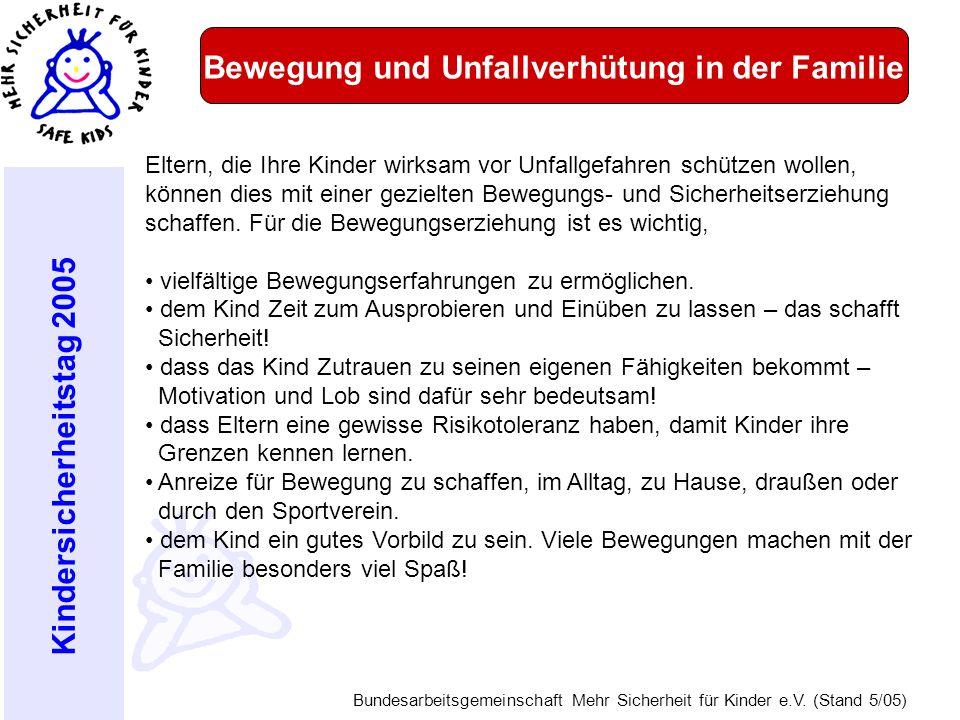 Kindersicherheitstag 2005 Bundesarbeitsgemeinschaft Mehr Sicherheit für Kinder e.V. (Stand 5/05) Bewegung und Unfallverhütung in der Familie Eltern, d