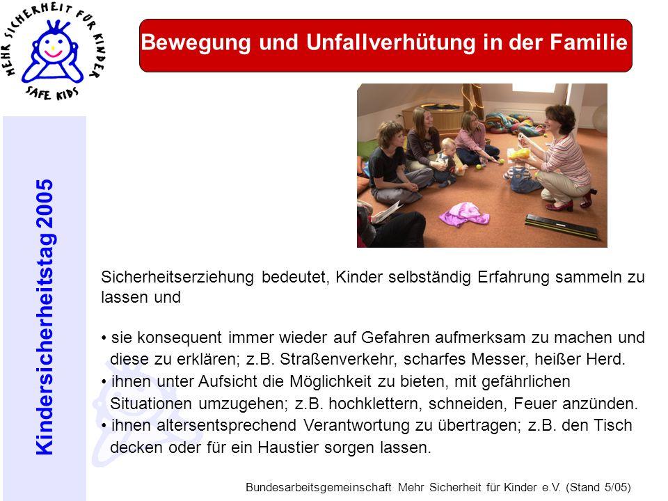 Kindersicherheitstag 2005 Bundesarbeitsgemeinschaft Mehr Sicherheit für Kinder e.V. (Stand 5/05) Bewegung und Unfallverhütung in der Familie Sicherhei