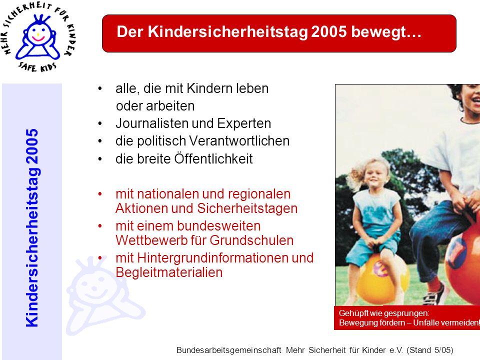 Kindersicherheitstag 2005 Bundesarbeitsgemeinschaft Mehr Sicherheit für Kinder e.V. (Stand 5/05) Der Kindersicherheitstag 2005 bewegt… alle, die mit K