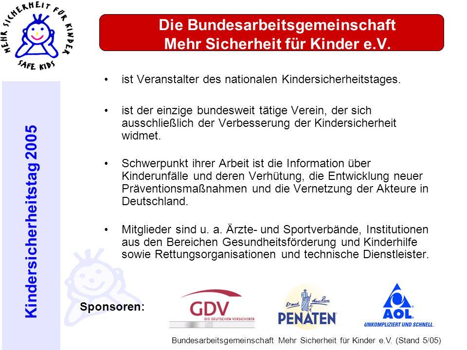 Kindersicherheitstag 2005 Bundesarbeitsgemeinschaft Mehr Sicherheit für Kinder e.V. (Stand 5/05) Die Bundesarbeitsgemeinschaft Mehr Sicherheit für Kin