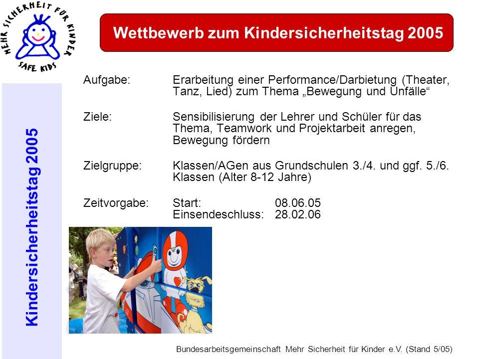 Kindersicherheitstag 2005 Bundesarbeitsgemeinschaft Mehr Sicherheit für Kinder e.V. (Stand 5/05) Aufgabe: Erarbeitung einer Performance/Darbietung (Th