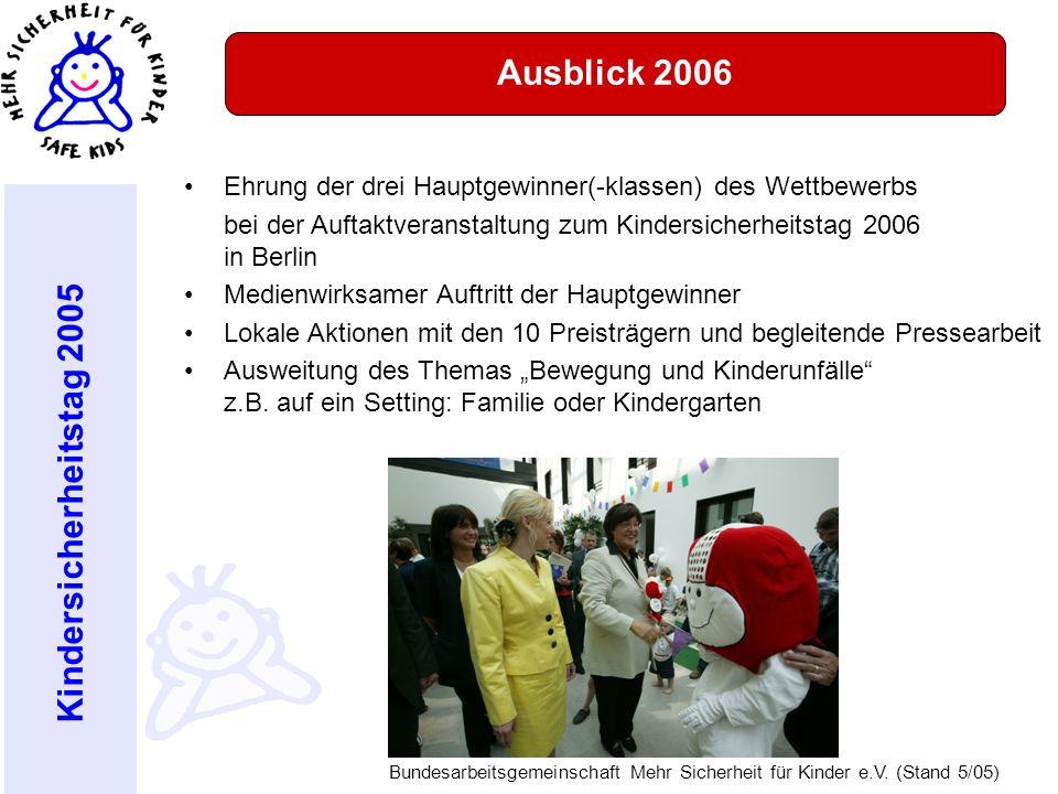 Kindersicherheitstag 2005 Bundesarbeitsgemeinschaft Mehr Sicherheit für Kinder e.V. (Stand 5/05) Aktionstag am Ehrung der drei Hauptgewinner(-klassen)