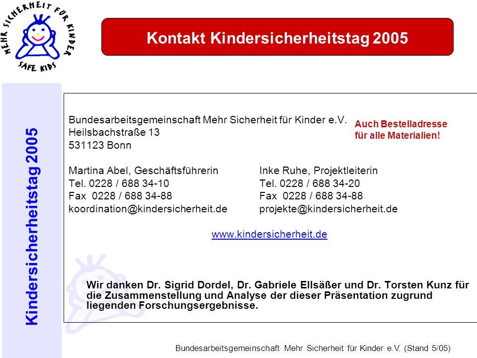 Kindersicherheitstag 2005 Bundesarbeitsgemeinschaft Mehr Sicherheit für Kinder e.V. (Stand 5/05) Kontakt Kindersicherheitstag 2005 Bundesarbeitsgemein