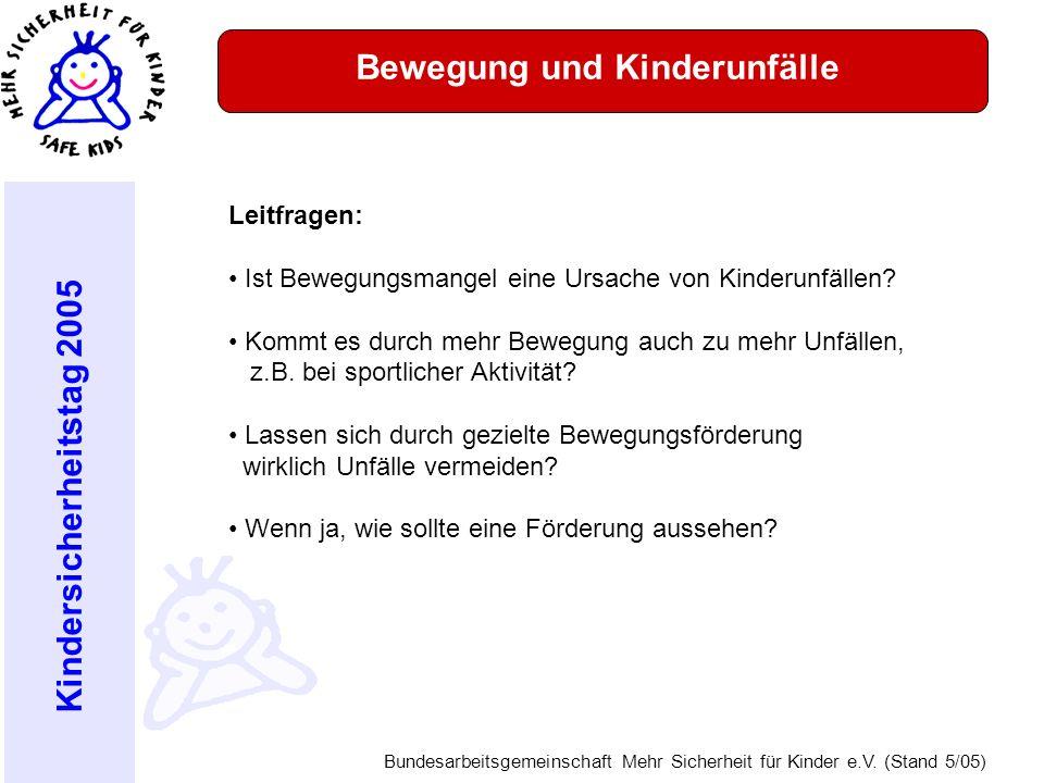 Kindersicherheitstag 2005 Bundesarbeitsgemeinschaft Mehr Sicherheit für Kinder e.V. (Stand 5/05) Bewegung und Kinderunfälle Leitfragen: Ist Bewegungsm