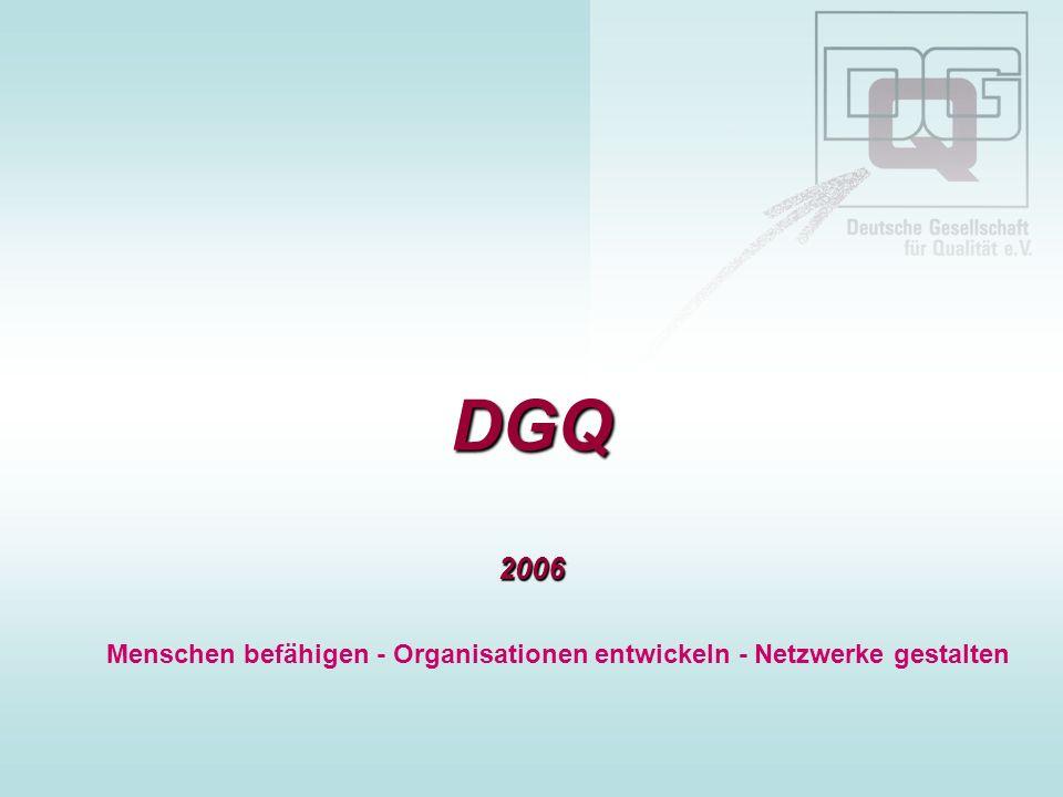 DGQ Folie 10 - August 2006 Kai Behrends, DGQ LGS-Nord Qualitätsmanagementsysteme – Kundenzufriedenheit und Kundenbindung Kundenzufriedenheit kann Ergebnis des Qualitätsmanagementsystems sein wenn das QMS wertschöpfend gelebt wird (auch und gerade von der Führung) die Q-Ressourcen sichergestellt werden die Q-Mitarbeiter hinreichend ausgebildet und vernetzt sind