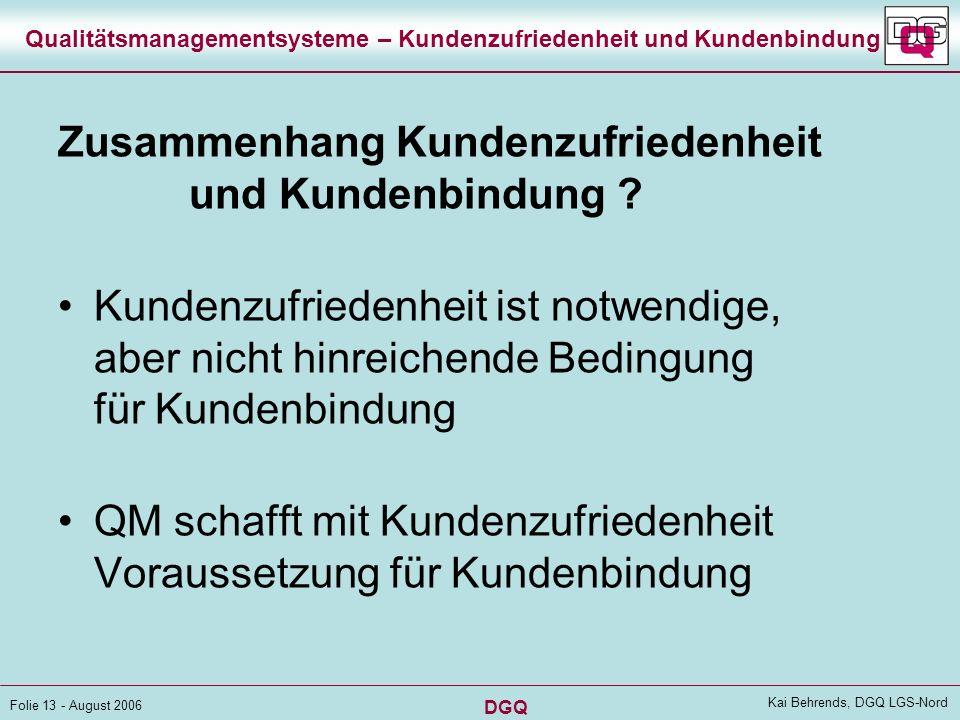 DGQ Folie 12 - August 2006 Kai Behrends, DGQ LGS-Nord Qualitätsmanagementsysteme – Kundenzufriedenheit und Kundenbindung Bedeutung der Kundenbindung?