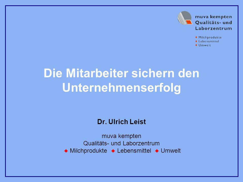 muva kempten Qualitäts- und Laborzentrum Milchprodukte Lebensmittel Umwelt Die Mitarbeiter sichern den Unternehmenserfolg Dr. Ulrich Leist