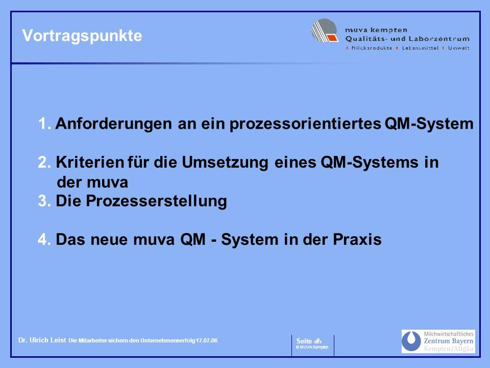 Seite 2 © MUVA Kempten Dr. Ulrich Leist Die Mitarbeiter sichern den Unternehmenserfolg 17.07.06 Vortragspunkte 2. Kriterien für die Umsetzung eines QM
