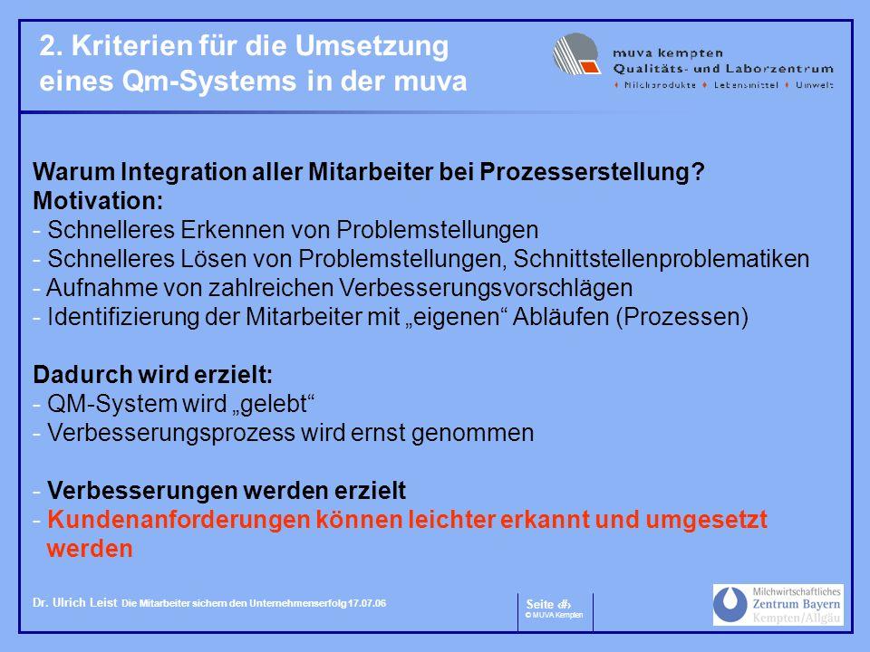 Seite 5 © MUVA Kempten Dr. Ulrich Leist Die Mitarbeiter sichern den Unternehmenserfolg 17.07.06 2. Kriterien für die Umsetzung eines Qm-Systems in der