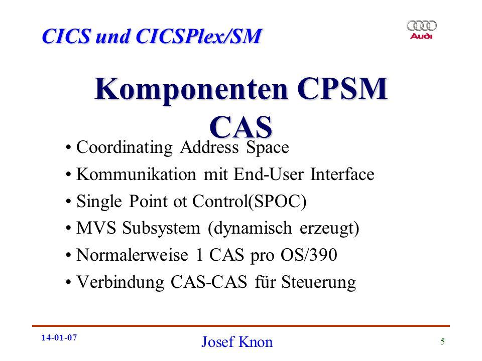 CICS und CICSPlex/SM Josef Knon 14-01-07 5 Komponenten CPSM CAS Coordinating Address Space Kommunikation mit End-User Interface Single Point ot Contro