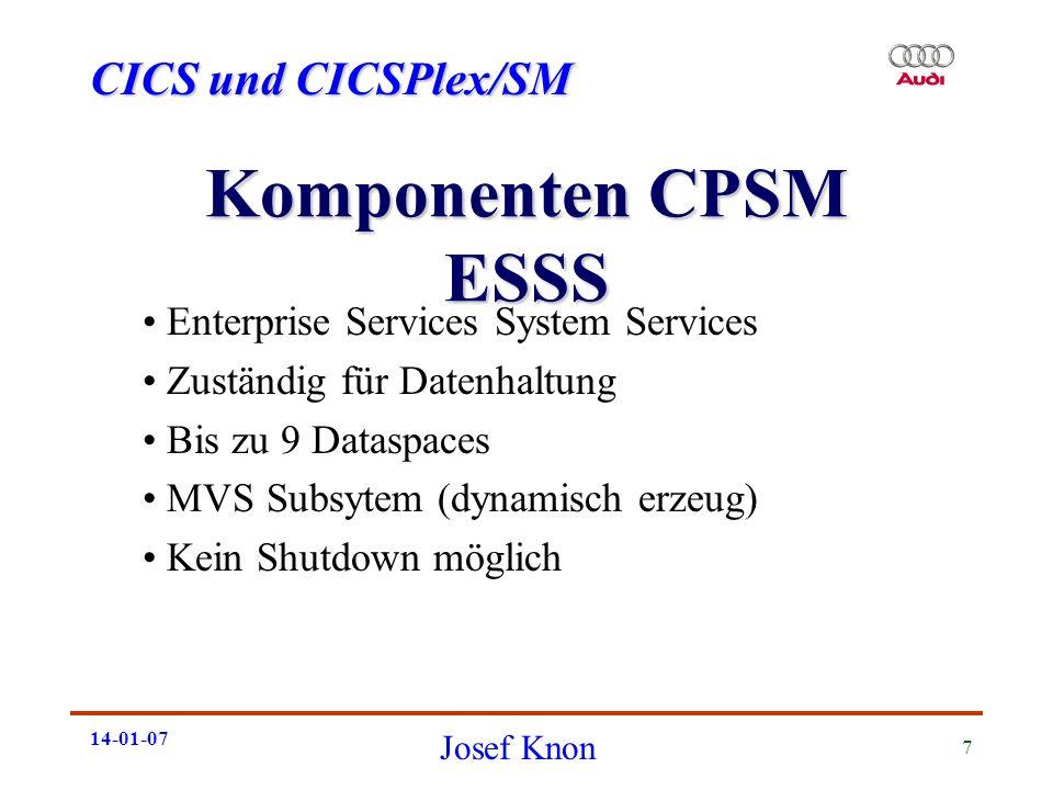CICS und CICSPlex/SM Josef Knon 14-01-07 7 Komponenten CPSM ESSS Enterprise Services System Services Zuständig für Datenhaltung Bis zu 9 Dataspaces MV