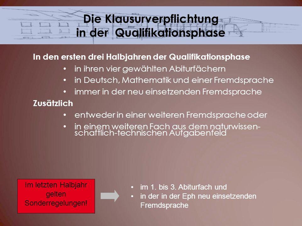 In den ersten drei Halbjahren der Qualifikationsphase in ihren vier gewählten Abiturfächern in Deutsch, Mathematik und einer Fremdsprache immer in der