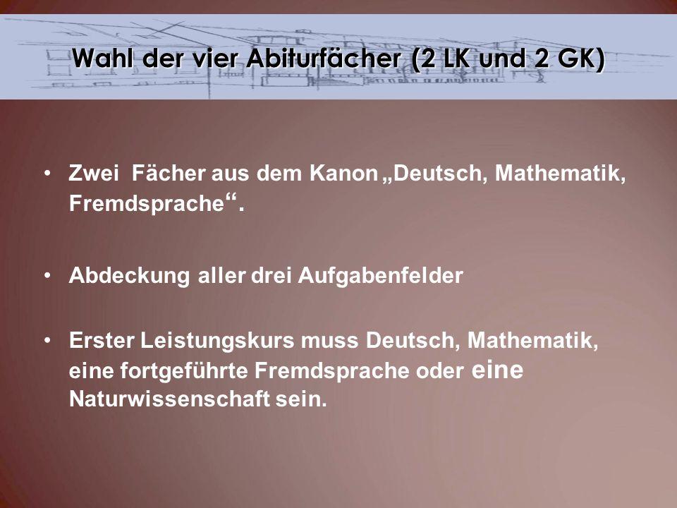 Zwei Fächer aus dem KanonDeutsch, Mathematik, Fremdsprache. Abdeckung aller drei Aufgabenfelder Erster Leistungskurs muss Deutsch, Mathematik, eine fo