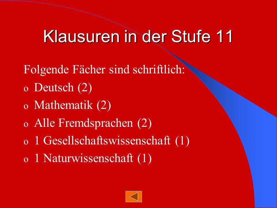 Versetzungsordnung 11 - 12 Grundlage: -9 Kurse im Pflichtbereich und -1 Kurs im Wahlbereich Versetzt, wenn -alle Kurse mindestens ausreichend oder -ein Kurs mangelhaft ( außer D, M, fortg.