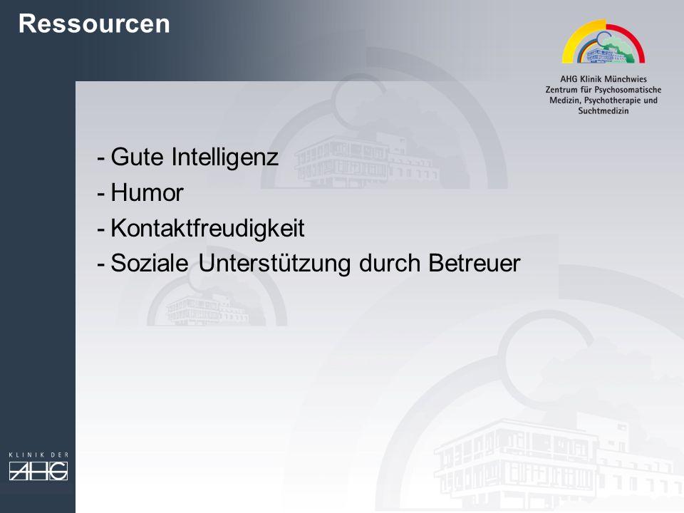 Ressourcen -Gute Intelligenz -Humor -Kontaktfreudigkeit -Soziale Unterstützung durch Betreuer