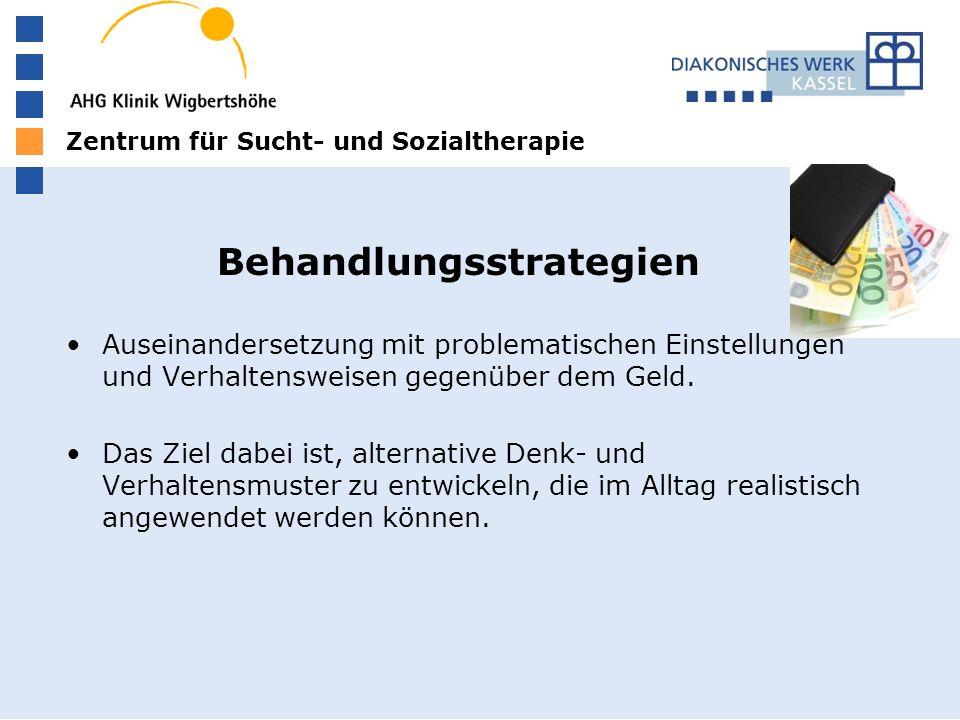 Zentrum für Sucht- und Sozialtherapie Behandlungsstrategien Auseinandersetzung mit problematischen Einstellungen und Verhaltensweisen gegenüber dem Geld.