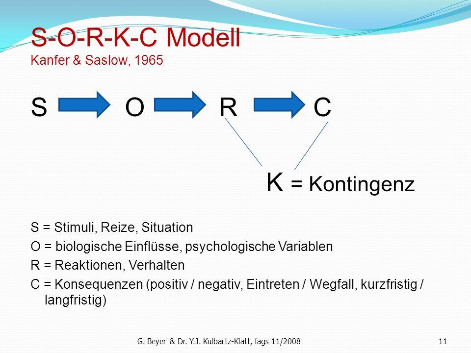 11 S-O-R-K-C Modell Kanfer & Saslow, 1965 S O R C K = Kontingenz S = Stimuli, Reize, Situation O = biologische Einflüsse, psychologische Variablen R =