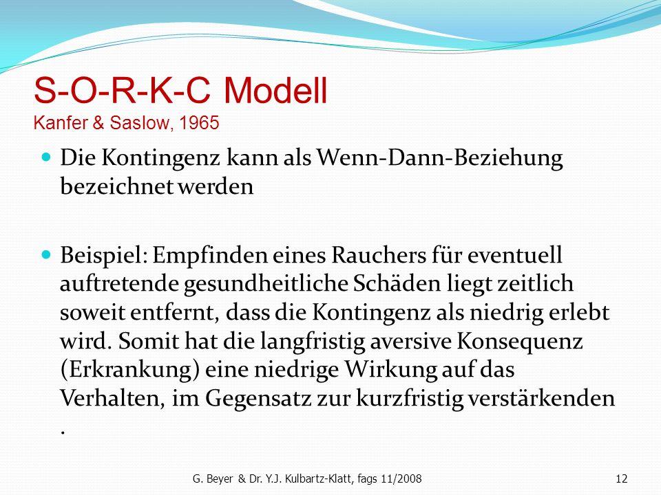 S-O-R-K-C Modell Kanfer & Saslow, 1965 Die Kontingenz kann als Wenn-Dann-Beziehung bezeichnet werden Beispiel: Empfinden eines Rauchers für eventuell