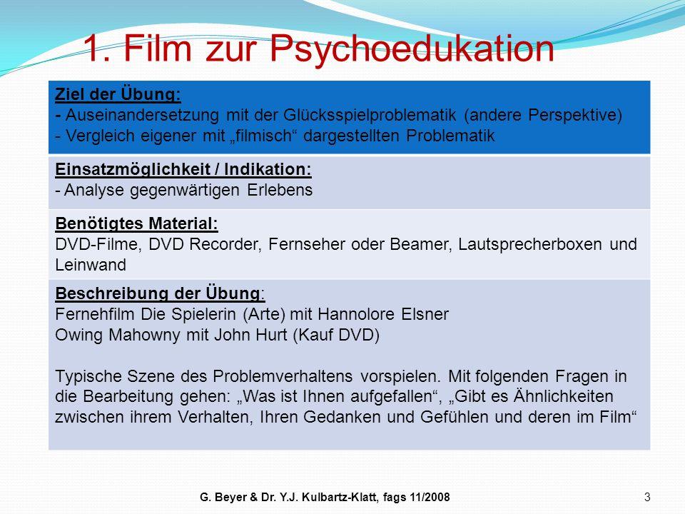 1. Film zur Psychoedukation 3 Ziel der Übung: - Auseinandersetzung mit der Glücksspielproblematik (andere Perspektive) - Vergleich eigener mit filmisc