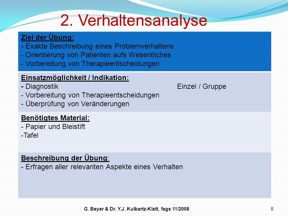 2. Verhaltensanalyse 8 Ziel der Übung: - Exakte Beschreibung eines Problemverhaltens - Orientierung von Patienten aufs Wesentliches - Vorbereitung von