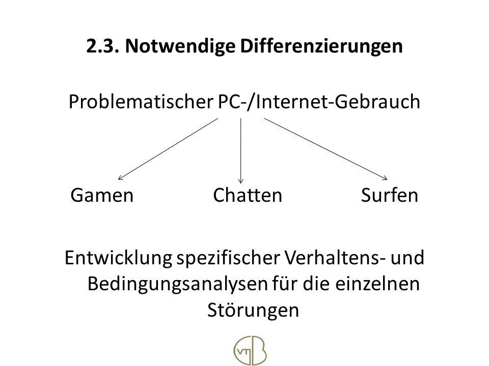 2.3. Notwendige Differenzierungen Problematischer PC-/Internet-Gebrauch Gamen Chatten Surfen Entwicklung spezifischer Verhaltens- und Bedingungsanalys
