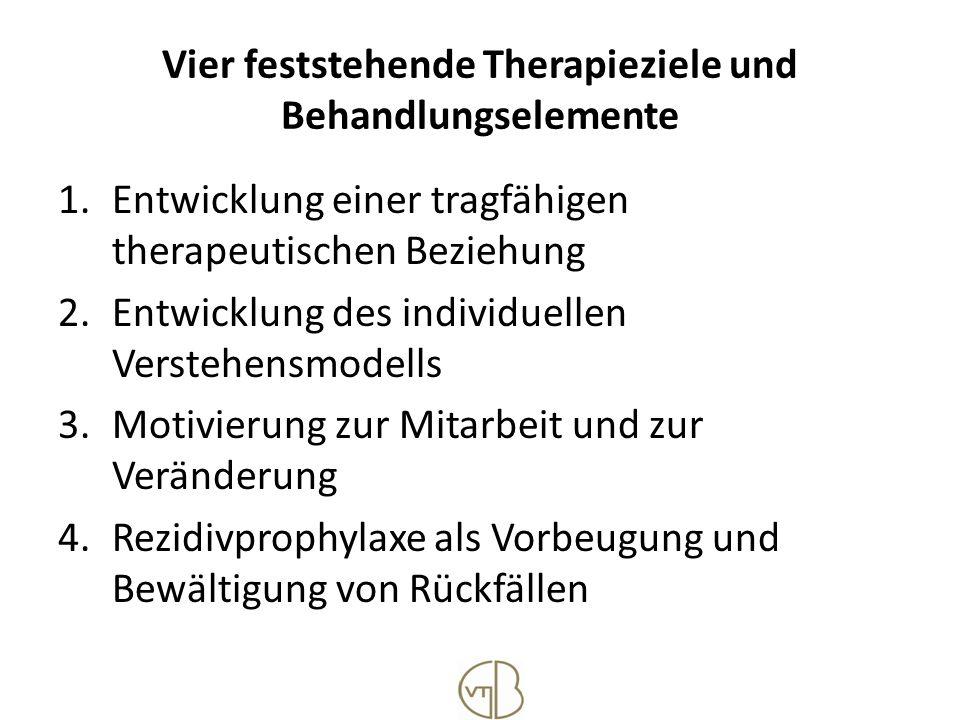 Vier feststehende Therapieziele und Behandlungselemente 1.Entwicklung einer tragfähigen therapeutischen Beziehung 2.Entwicklung des individuellen Vers