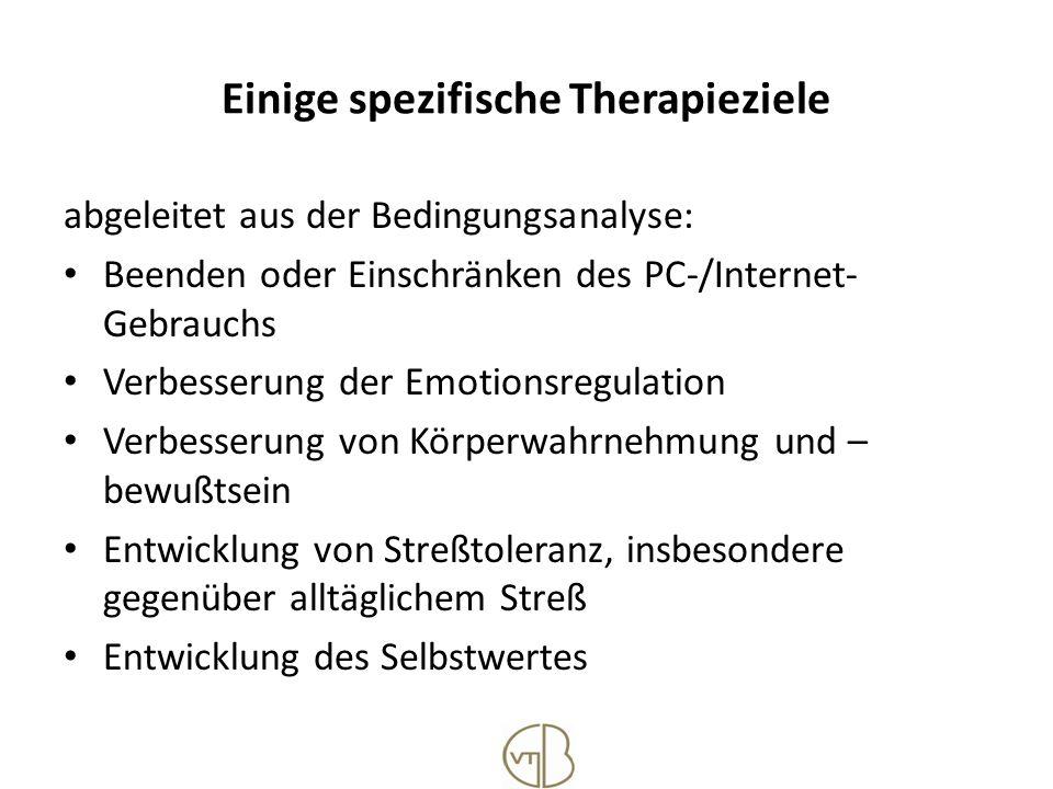 Einige spezifische Therapieziele abgeleitet aus der Bedingungsanalyse: Beenden oder Einschränken des PC-/Internet- Gebrauchs Verbesserung der Emotions