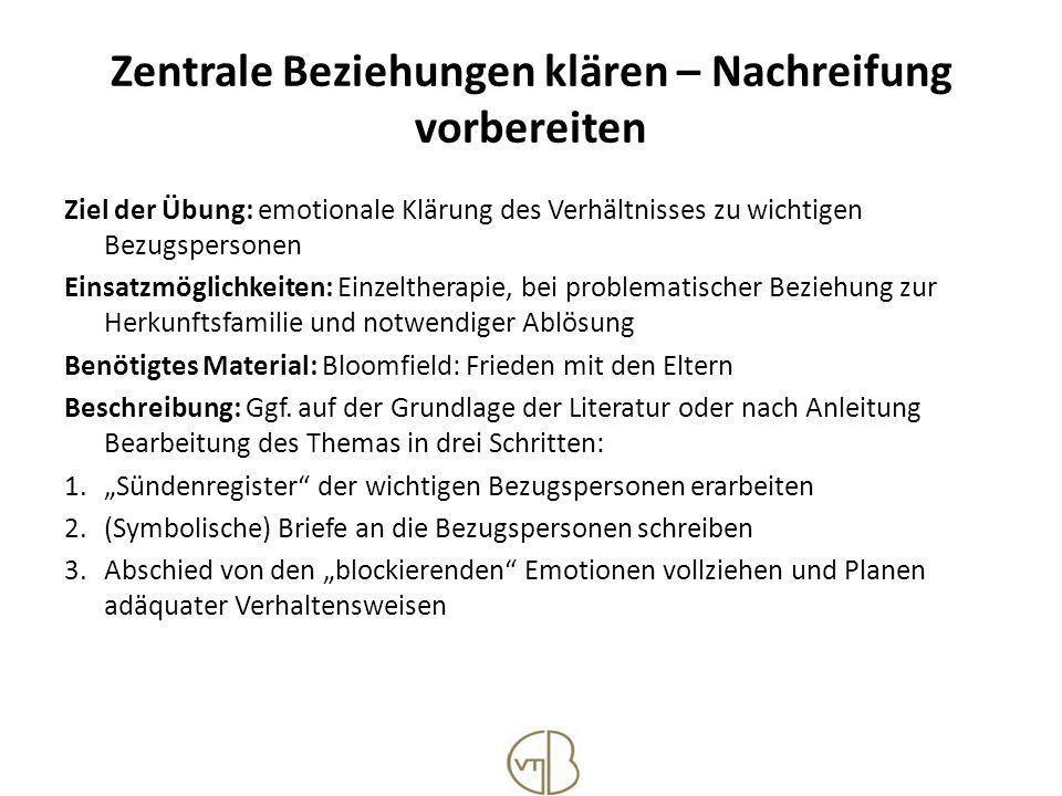 Zentrale Beziehungen klären – Nachreifung vorbereiten Ziel der Übung: emotionale Klärung des Verhältnisses zu wichtigen Bezugspersonen Einsatzmöglichk