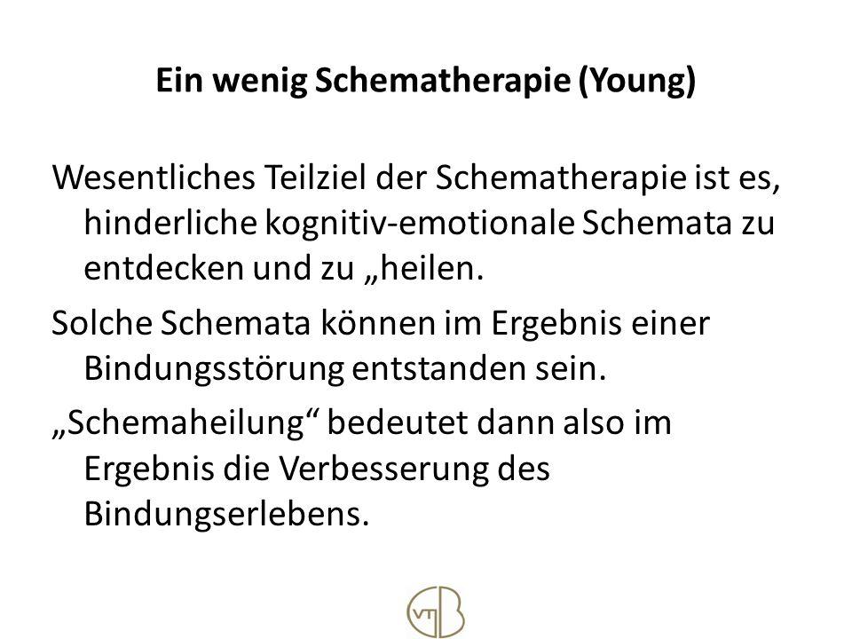 Ein wenig Schematherapie (Young) Wesentliches Teilziel der Schematherapie ist es, hinderliche kognitiv-emotionale Schemata zu entdecken und zu heilen.