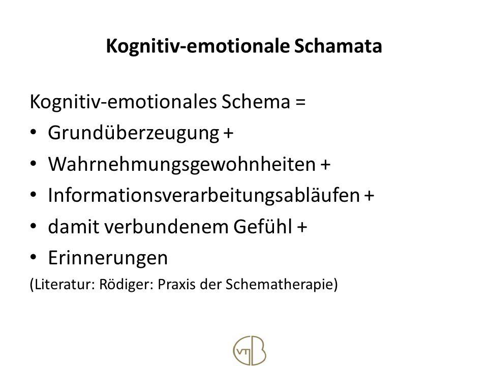 Kognitiv-emotionale Schamata Kognitiv-emotionales Schema = Grundüberzeugung + Wahrnehmungsgewohnheiten + Informationsverarbeitungsabläufen + damit ver