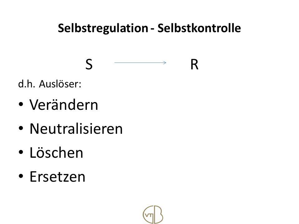 Selbstregulation - Selbstkontrolle S R d.h. Auslöser: Verändern Neutralisieren Löschen Ersetzen