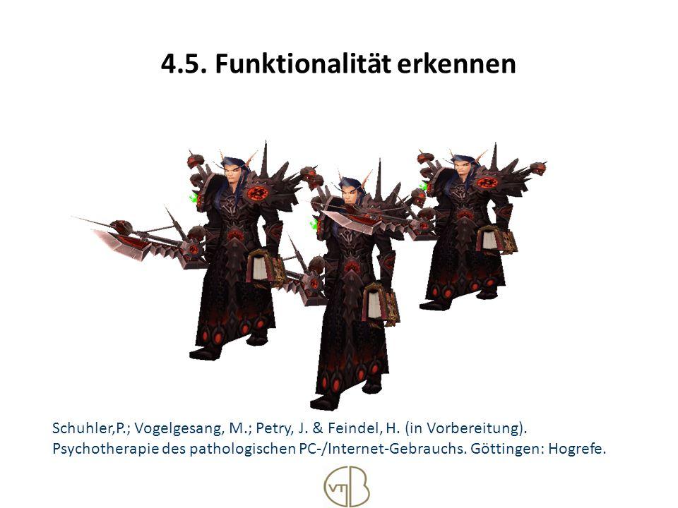 4.5. Funktionalität erkennen Schuhler,P.; Vogelgesang, M.; Petry, J. & Feindel, H. (in Vorbereitung). Psychotherapie des pathologischen PC-/Internet-G