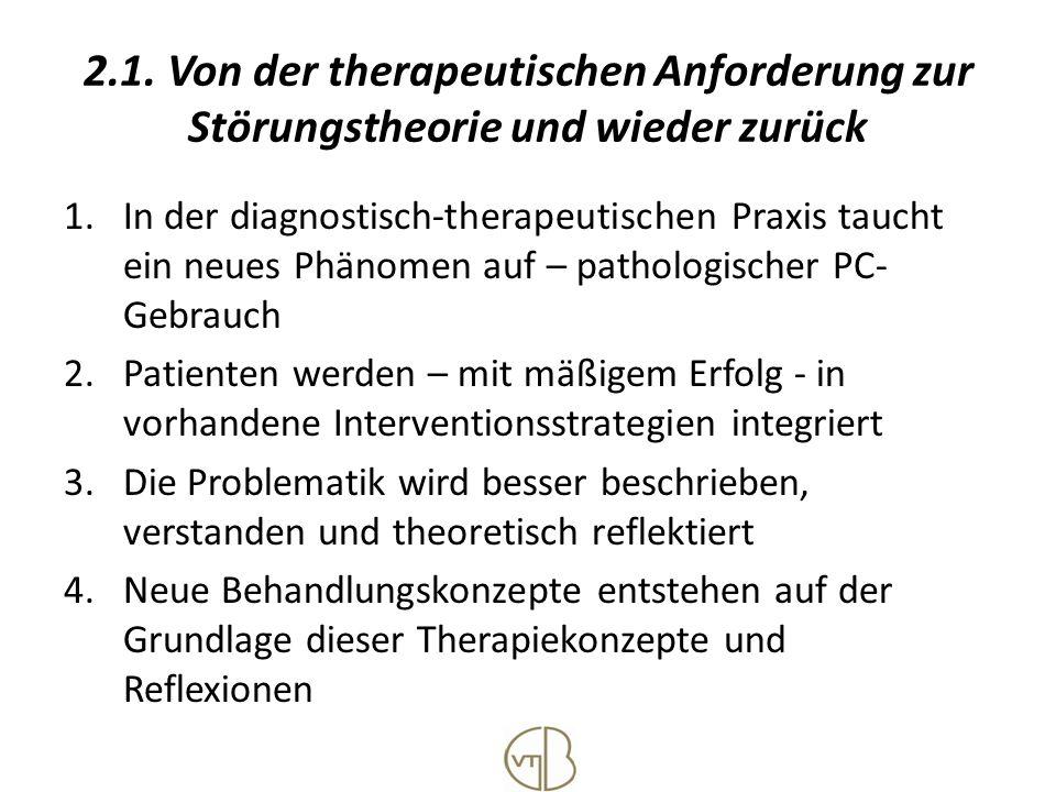 2.1. Von der therapeutischen Anforderung zur Störungstheorie und wieder zurück 1.In der diagnostisch-therapeutischen Praxis taucht ein neues Phänomen