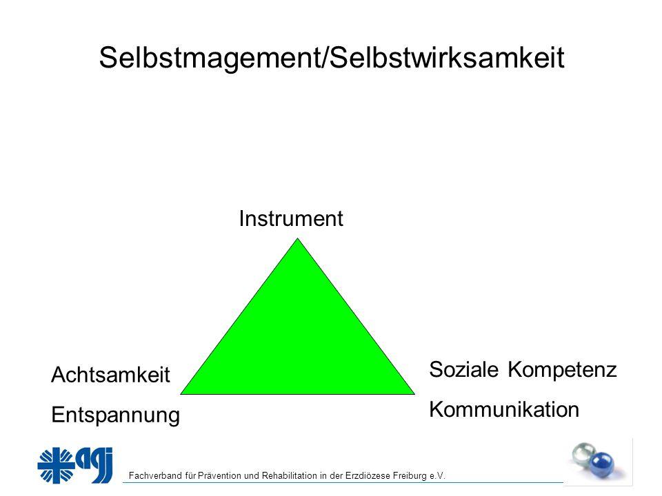Fachverband für Prävention und Rehabilitation in der Erzdiözese Freiburg e.V. Selbstmagement/Selbstwirksamkeit Instrument Achtsamkeit Entspannung Sozi