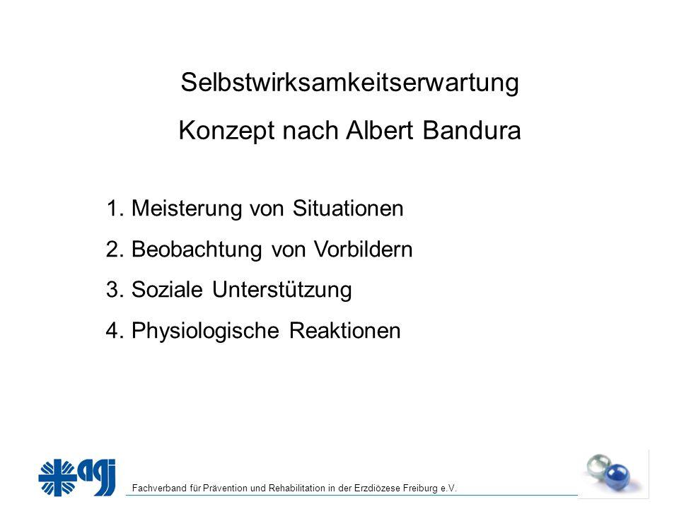 Fachverband für Prävention und Rehabilitation in der Erzdiözese Freiburg e.V. Selbstwirksamkeitserwartung Konzept nach Albert Bandura 1.Meisterung von