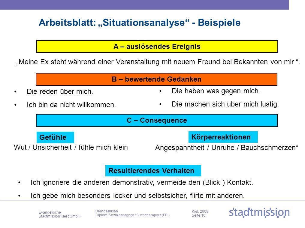 Evangelische Stadtmission Kiel gGmbH Kiel, 2009 Seite 10 Bernd Mukian Diplom-Sozialp ä dagoge / Suchttherapeut (FPI) Arbeitsblatt: Situationsanalyse -