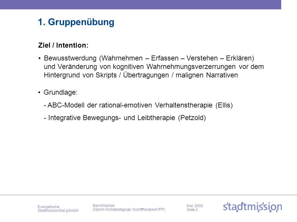 Evangelische Stadtmission Kiel gGmbH Kiel, 2009 Seite 2 Bernd Mukian Diplom-Sozialp ä dagoge / Suchttherapeut (FPI) 1. Gruppenübung Bewusstwerdung (Wa