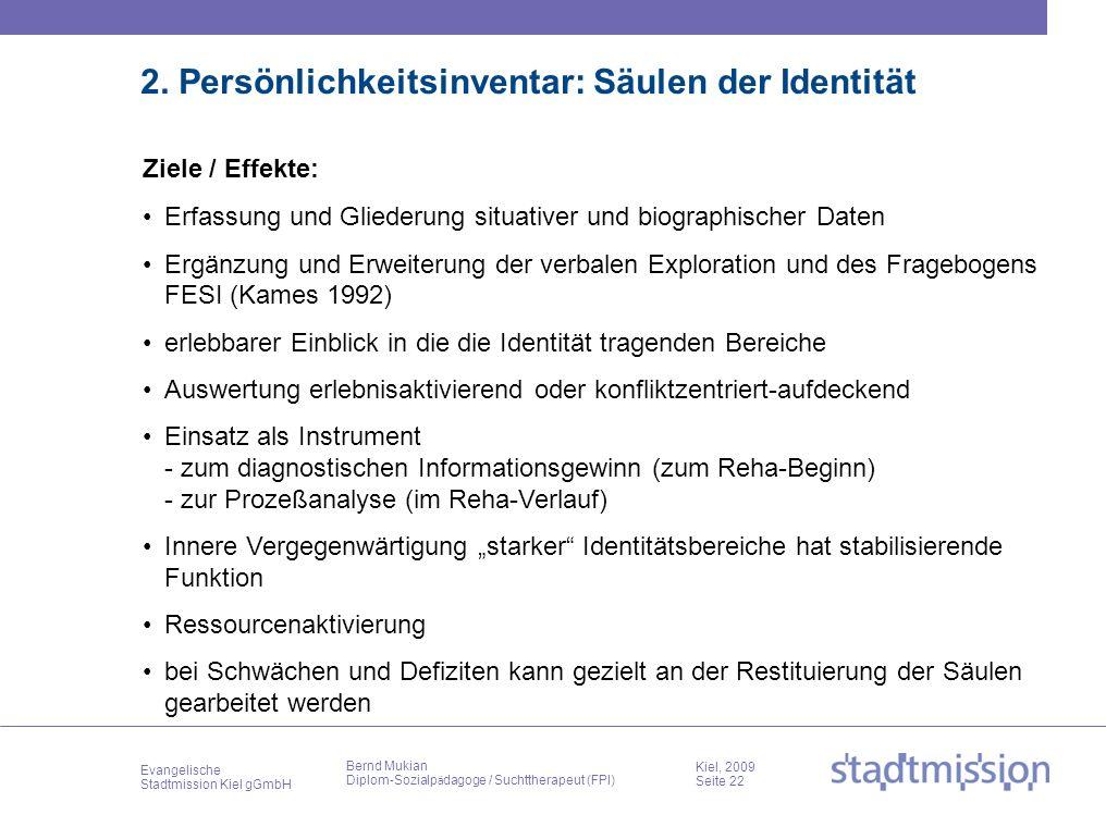 Evangelische Stadtmission Kiel gGmbH Kiel, 2009 Seite 22 Bernd Mukian Diplom-Sozialp ä dagoge / Suchttherapeut (FPI) 2. Persönlichkeitsinventar: Säule