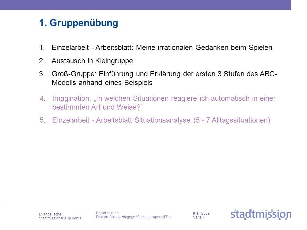 Evangelische Stadtmission Kiel gGmbH Kiel, 2009 Seite 7 Bernd Mukian Diplom-Sozialp ä dagoge / Suchttherapeut (FPI) 1. Gruppenübung 4.Imagination: In
