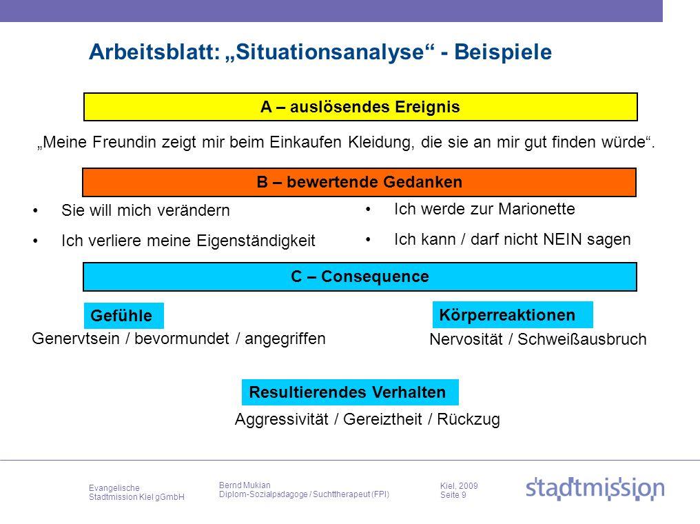 Evangelische Stadtmission Kiel gGmbH Kiel, 2009 Seite 9 Bernd Mukian Diplom-Sozialp ä dagoge / Suchttherapeut (FPI) Arbeitsblatt: Situationsanalyse -