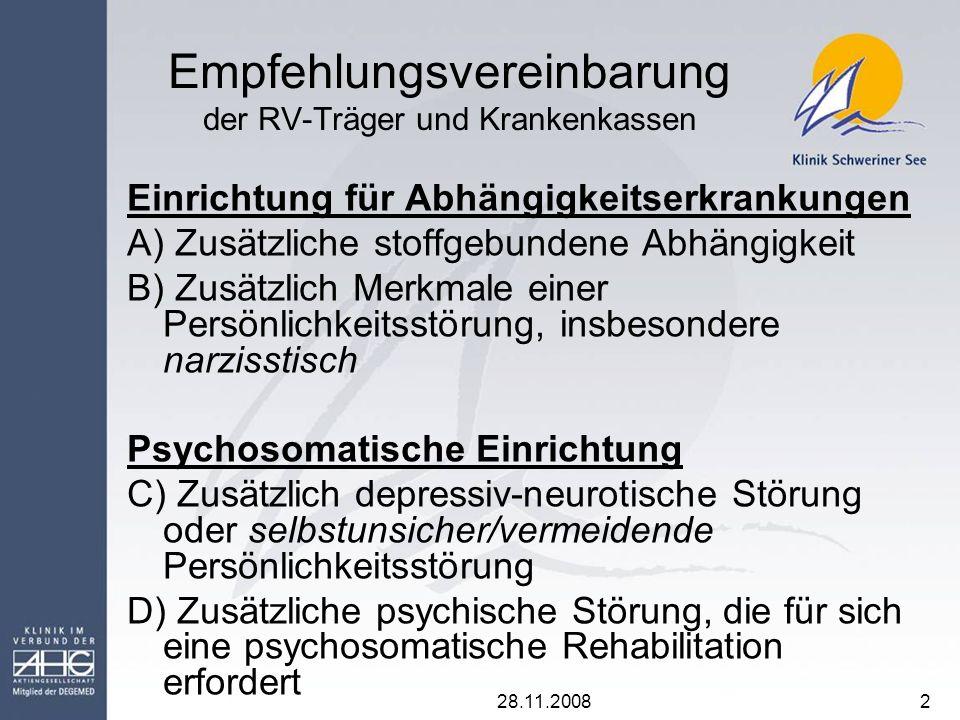 28.11.20083 Stichprobe In den Jahren 2006 und 2007 in der Klinik Schweriner See stationär behandelte Pathologische Glücksspieler Insgesamt 208 (10,6 % weiblich) Davon66 (1,5% w.)in der Abteilung für Abhängigkeitserkrankungen = 5,5% der Suchtpatienten 142 (14,8% w.) in der Abteilung für Psychosomatik =14,9 % der PS-Patienten