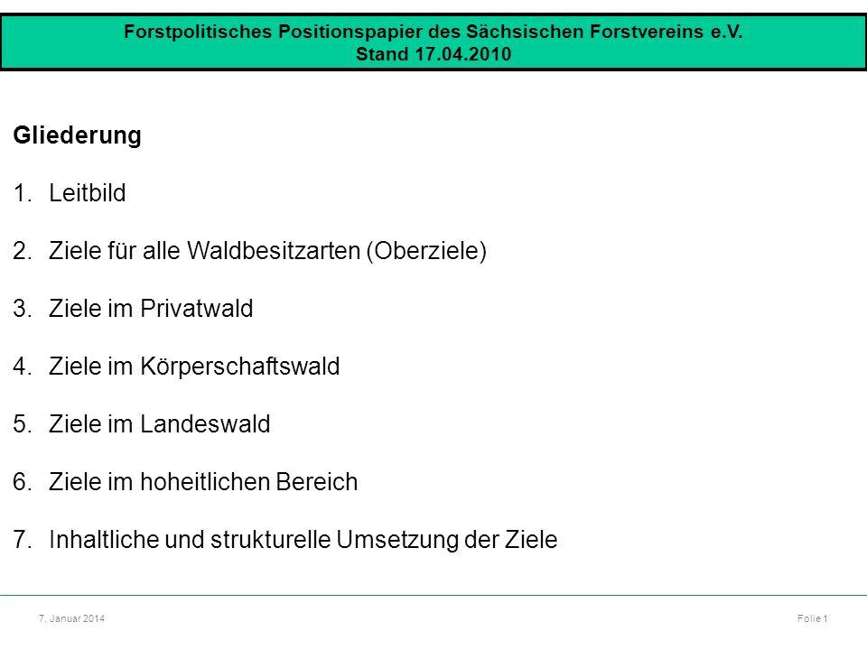 Autor: Dr. Mario Marsch Folie 1 7. Januar 2014 Forstpolitisches Positionspapier des Sächsischen Forstvereins e.V. Stand 17.04.2010 Gliederung 1.Leitbi