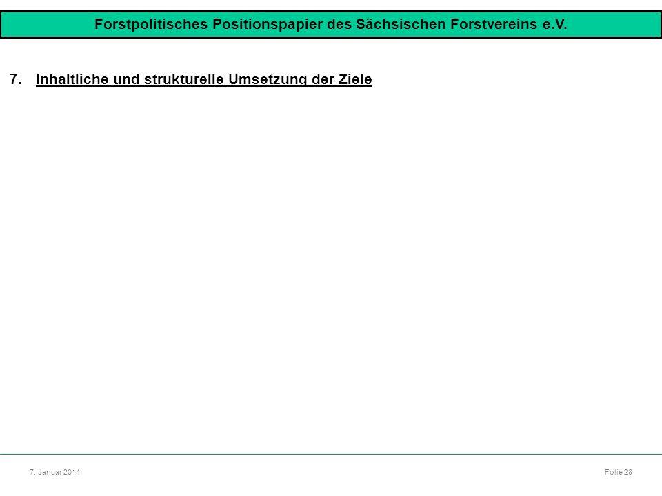 Autor: Dr. Mario Marsch Folie 28 7. Januar 2014 7.Inhaltliche und strukturelle Umsetzung der Ziele Forstpolitisches Positionspapier des Sächsischen Fo