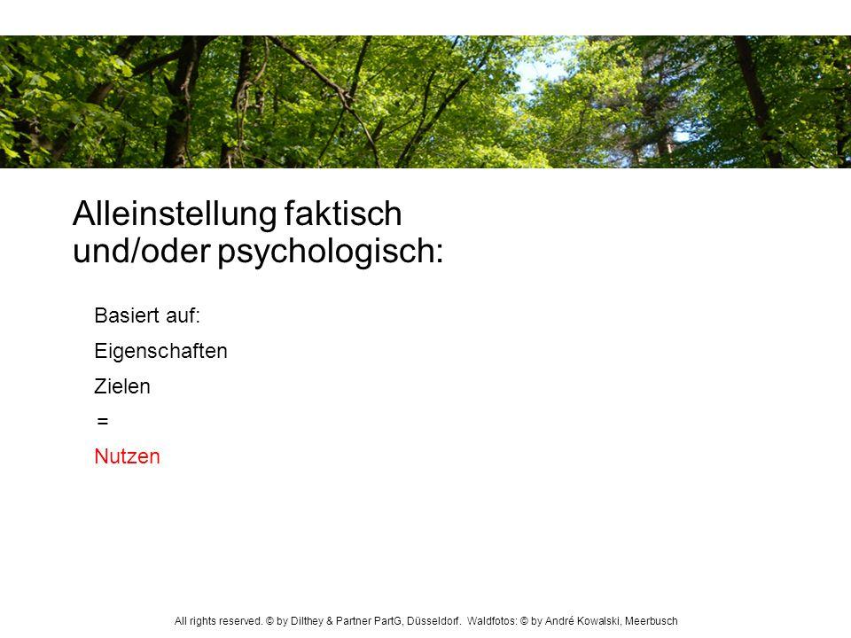 Alleinstellung faktisch und/oder psychologisch: = Basiert auf: Eigenschaften Zielen Nutzen All rights reserved. © by Dilthey & Partner PartG, Düsseldo