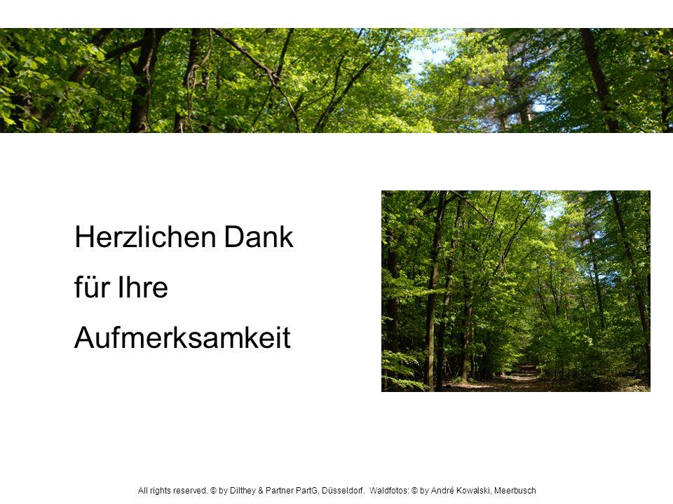 Herzlichen Dank für Ihre Aufmerksamkeit All rights reserved. © by Dilthey & Partner PartG, Düsseldorf. Waldfotos: © by André Kowalski, Meerbusch